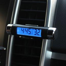 2019 vw jetta gear 2018 Novo 2 in1 Backlight Digital carro Termômetro Relógio, relógio automotivo digital LED, luz de fundo azul Relógio de termômetro de saída