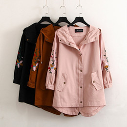 Wholesale Hooded Womens Trench Coat - New arrival women korean trench coat embroidery floral long sleeve hooded coats womens 2018 spring overcoat plus size 4XL