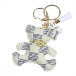 gold key ring chains Promo Codes - New fashion!Key Chain Accessories Tassel Key Ring PU Leather Bear Pattern Car Keychain Jewelry Bag Charm
