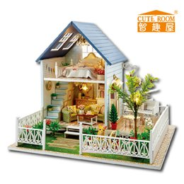Wholesale Miniature House Lights - Wholesale-Home Decoration Crafts DIY Doll House Wooden Doll Houses Miniature DIY dollhouse Furniture Kit Villa LED Lights Gift A-030