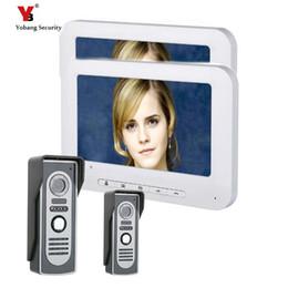 Yobang Güvenlik 7 Inç TFT Görüntülü Kapı Telefonu Kapı Zili Interkom Kiti 2-camera Ile 2 * 7 inç monitör Gece Görüş cheap kit security camera monitor nereden kit güvenlik kamerası monitörü tedarikçiler