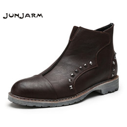 Wholesale motorcycle boots zipper - JUNJARM 2017 Men Boots Winter Fashion Rivet Buckle Men Ankle Boots Zipper Motorcycle Retro Style Male Moccasin