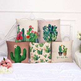 paint series Promo Codes - Plant Series Decorative Throw Pillows Color Hand Painted Cactus Pillow Case Cotton Linen Car Sofa Cushion Cover Home Textiles 9my bb