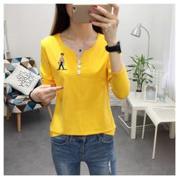 Wholesale Roupa Korean - 2017 New Autumn Women T-shirt Korean Fashion Kawaii Student T-shirt Good Quality Cotton Long Sleeve T shirt Women Roupa Feminina
