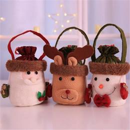 Weihnachten glückliche taschen online-Weihnachtskarikatur-Süßigkeit-Geschenktasche Portable Apple-Tasche Weihnachtsmall-Hotel-Restaurant-Kinderdekoration-glückliche Tasche