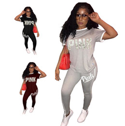 Wholesale Black Leggings Pockets - Love Pink letter women Short Sleeve Sports Suits Solid Color Tracksuit Casual Two Piece Sets T shirt+Leggings sportswear outfit 2018 Summer