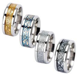 toca dragões chineses Desconto Aço inoxidável prata dragão de ouro projeto anel de dedo anéis de banda anel de dragão chinês para mulheres homens amantes anel de casamento transporte da gota