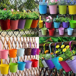 Wholesale Iron Pots Holder - Candy Colors Flower Metal Hanging Pots Garden Balcony Wall Vertical Hang Bucket Iron Holder Basket With Removable Tin Home Decor
