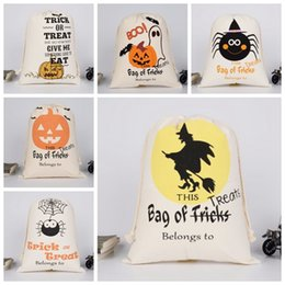 Wholesale pumpkin gifts - Halloween Pumpkin Bags Canvas Drawstring Sack Hallowmas Gift Bags Tricks Or Treat Printed Festival Party Decor 9 Designs YW38