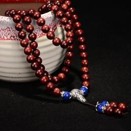 2019 buddha schmuck machen Authentische Lobular Red Sandelholz Armbänder 108 Buddha Perlen Hand gemacht Poliert High Oil Dichte Halskette für Männer Frauen Schmuck günstig buddha schmuck machen