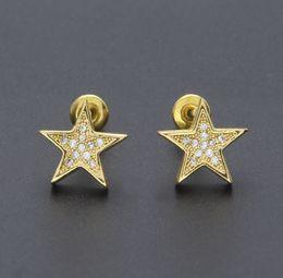 gold mode stern ohrring Rabatt Mens Hip Hop Ohrstecker Schmuck New Fashion High Quality Gold Silber fünfzackigen Stern Ohrringe für Männer