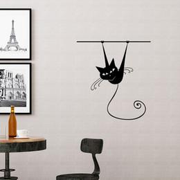 adesivos de parede para vestiários Desconto Engraçado Gato Escalada Adesivos de Parede Decalque Da Parede Do Vinil Animal para Quarto de Crianças Quarto Home Decor
