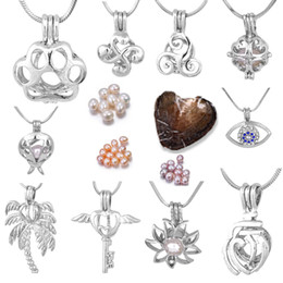 Wholesale Fashion Jewelry Beards - 1 Set Pearl Cage Pendant Fashion Angel Key Beard Coop Top Paw Heart Balloon SunFlower Beetle Eye Hot Sale Jewelry (Necklace+Oyster) P010