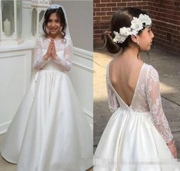 Wholesale Simple Dresses For Pageants - 2018 Simple Flower Girl Dresses A Line Jewel Long Sleeve Floor Length Girls Pageant Dresses With Lace Satin Backless For Wedding Party