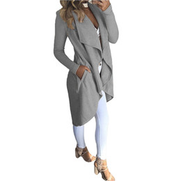Wholesale green trench coats - 2018 Fashion Women Knitted Coat Trench Long Jumper Overcoat Ladies Winter Autumn Warm Cardigan Coat Thick Windcoats Lady Outwear