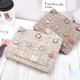 Wholesale Plastic Covered Fabric - For Ipad Pro 10.5 Fashion Big-Brand Protection Case Cotton Fabric Letter Tablet PC Cover Case for IPad 2 3 4 5 6 Pro 9.7 Air1 2 Mini Mini4