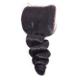 Wholesale Hair Products Girls - malaysian human hair loose wave closure 4*4 three part free part middle part virgin hair products Natural Color SASSY GIRL