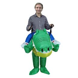 Trajes de cocodrilo online-Adulto fiesta de la mascota de Navidad de Halloween Divertido vestido trajes inflables de lujo de cocodrilo traje animal para LJ-037 adecuado