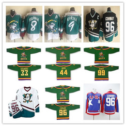 Vintage Anaheim 96 Charlie Conway Mighty Ducks maglie da hockey su pista da corsa Cheap Blank Green White 1993-94 Away Trikot Camicie Ordine del mix da