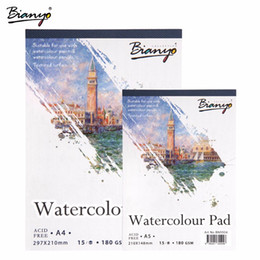 Wholesale Painted Paper Art - Bianyo A4 A5 Sketchbook Watercolor Painting Paper for Art Drawing,15Sheet Hand Paint Sketch book Creative Office School Supplier