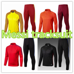 Wholesale Drawstring Jacket - 2017 2018 MESSI Soccer jacket Training Suit INIESTA PIQUE Uniforms Shirts Football Camiseta de Futbol O.DEMBELE SUAREZ Survetement Tracksuit