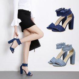 Wholesale Small Medium Heels Women Shoes - High heels women summer of 2018 new spring thick with han edition small pure and fresh and denim joker female shoes one word with sandals