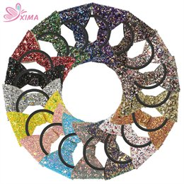 Wholesale Ponytail Holders For Bows - XIMA 17pcs lot Girls Sequin Cheerleading Hair Bow Elastic Hair Bands Rubber Hairband Hair Ties for Women