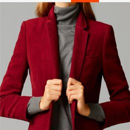 Wholesale Ladies Velvet Short Jackets - New Female High Quality Ladies Blouses Chic Tops Europe women's velvet blazer Slim Fit Short OL jacket Plus Size Free Shipping