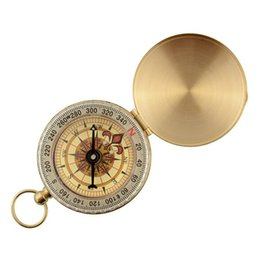 Wholesale Brass Navigation Compass - Multi Function Fluorescence Compass Gold Plated Brass Pocket Compasses Glowing In The Dark Navigation Camping Tools With Keychain 7 8hj B