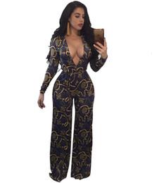 ad6806ec365ae new Vintage Print Jumpsuit Rompers Women Deep V Neck Belted Wide Leg Pants  EleJumpsuit Long Sleeve Overalls Plus Size S-3XL