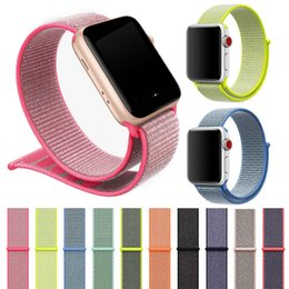 Sport Nylon Armband für Apple Watch iWatch 1 2 3 Band 42mm 38mm Bunte Nylon Schleife Verschluss gewebte Handgelenk Armband Gürtel Bands Armband von Fabrikanten