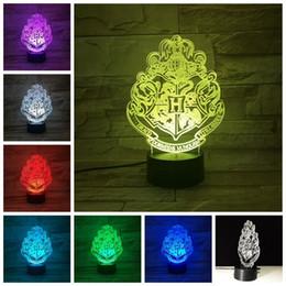 rodas de trabalho ao atacado Desconto Harry Potter 3D Luzes LED Lâmpada 7 Cores Mudando Ilusão Visual Dormir Luz Da Noite Festival Lanterna Brilho LED Brinquedo GGA960