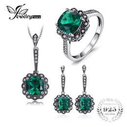 19fc6c37c46f Jewelrypalace vintage 7.3ct nano ruso simulado esmeralda collar colgante  pendientes pendientes juegos de joyas de plata de ley 925