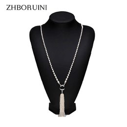 Wholesale Long Necklace Freshwater Pearls - ZHBORUINI Fashion Long Multilayer Pearl Necklace Freshwater Pearl Tassels Women Accessories Statement Necklace Jewelry For Women