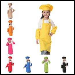 Wholesale Christmas Baked Gifts - Christmas Gifts 3pcs set Children Kitchen Waists 12 Colors Kids Aprons with Sleeve&Chef Hats for Painting Cooking Baking