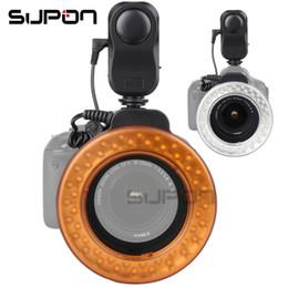 макрос кольцо привело свет Скидка SUPON W48 200LM LED макро Speedlite кольцо вспышка света для DSLR камеры мигает аксессуары диффузор фильтр + адаптер кольца мода