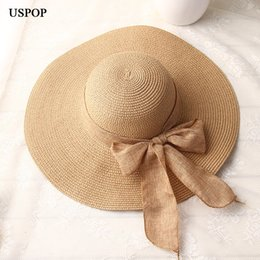 00b1b30bb2a 2018 New fashion woman hand made straw hat Bowknot ribbon sun hats wide brim  casual female summer shade beach hat anti uv cap D18103006