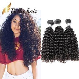 Wholesale Human Hair Free Shipping - 100% Grade 9A Brazilian Hair Weft Natural Color Curly Human Hair Extensions 3pcs lot Curly Hair Bundles Julienchina Bellahair Free Shipping