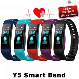 Wholesale Electronic Sports Bracelets - Y5 Smart Wristband Electronics Bracelet Color LCD Watch Activity APP Fitness Tracker Blood Pressure Heart Rate IP67 Waterproof Sports Band