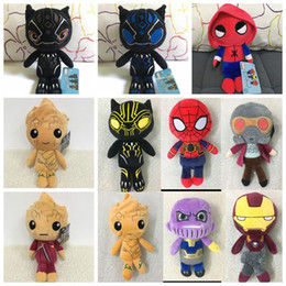 Wholesale action figures comics - 10 Styles 20cm Avengers 3 Plush Toys Infinity Black Panther Action Figure Toy Plush Stuffed Dolls Kids Birthday Gifts CCA9776 48pcs