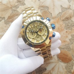 Wholesale big blue auto - Newest Luxury INVICTA S1 men watch full Gold stainless steel 52mm Big dial All function Work Chronograph Auto Date Calendar Sports Watches