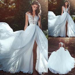 Vestido de textura on-line-Graciosa Tulle Chiffon Jewel decote A-line vestido de noiva com rendas apliques Slit textura e jóia ver-through vestido de noiva decote