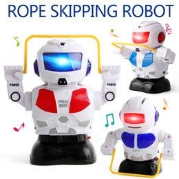 Wholesale electric rope - Jump Rope Robot Music Electric Glow Voice Work Out Intellectual Development Hands Brain Emotion Children's Toys Kids Gift