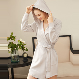 af988fe0ee High Quality New Spring Autumn Women Cotton Sweater Long Sleeve Hooded Robe  Female Sweet Loose Bathrobe Pajamas