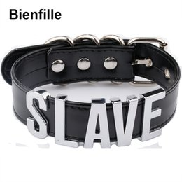 Wholesale Slave Girl - whole saleFashion Gold Men Necklace Women Girl Silver Slave Name Word Customized Collar Buckle Necklace Black PU Leather Kawaii Jewelry