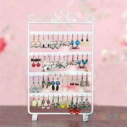Wholesale Glass Jewelry Showcase - Hot 48 Holes Display Rack Metal Stand Holder Closet Jewelry Earrings Organizers Showcase Packaging & Display Wholesale 7EUB