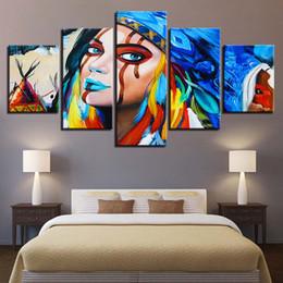 amerikanische indische malereien Rabatt Leinwand Wandkunst HD Prints Gemälde 5 Stück Indianer Federn American Native Girl Poster Wohnzimmer Home Decor Bilder gerahmt