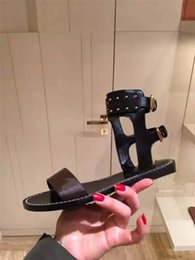 9ba19c3616c9 2018 New Arrival Print Leather Women Nomad Sandal Ankle Wrap Black Gold  Gladiator Flat Shoes 35-41 Luxury Brand Paris Sandals Slippers