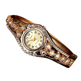 Wholesale Women Watch Bracelet Elegant - Fashion Casual Watches 2017 Hot Gold Women Bracelet Watch Alloy Wrist Watches Elegant Women Quartz Watch Clock Female Gift