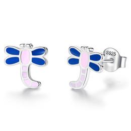 2019 orecchini a vite BELAWANG Autentico 925 Sterling Silver 7 Stili Orecchini belli colorati smalto gioielli per le donne bambini regalo di compleanno festa orecchini a vite economici